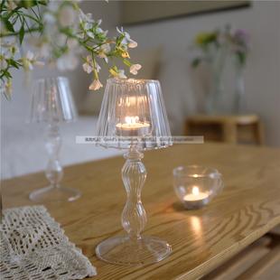 简约复古vintage小清新玻璃台灯烛台家居装 饰咖啡馆民宿软装 摆件