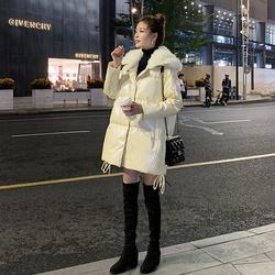 2020冬季新款亮面羽绒服女中长款宽松显瘦时尚韩版加厚小个子外套