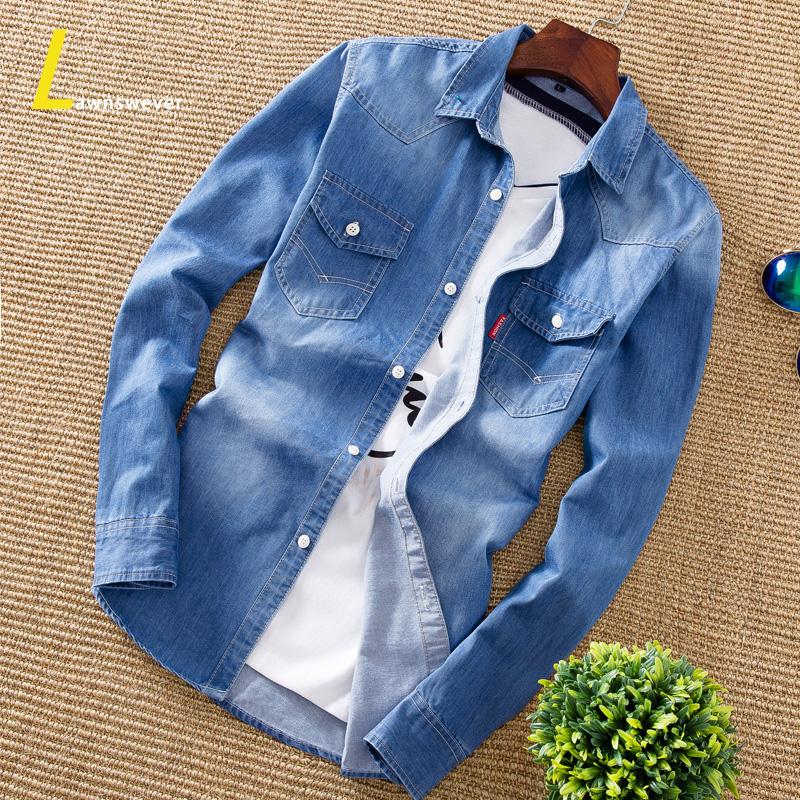 牛仔衬衫男士韩版修身打底衫春秋款男装上衣外套学生潮流长袖衬衣