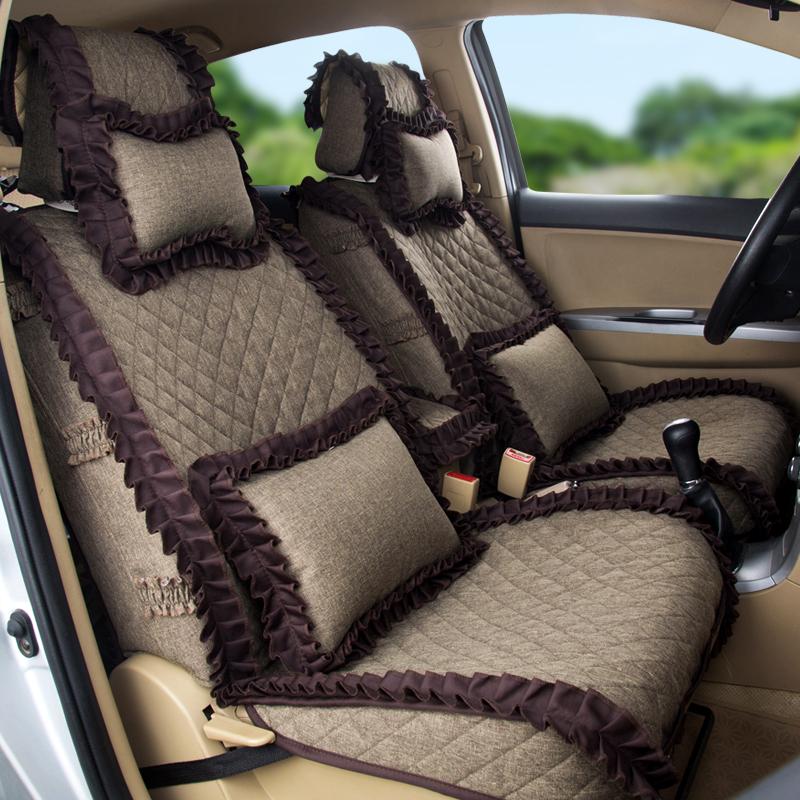 时尚花边全包围汽车坐垫套四季通用仿亚麻布艺小车专用女蕾丝座套