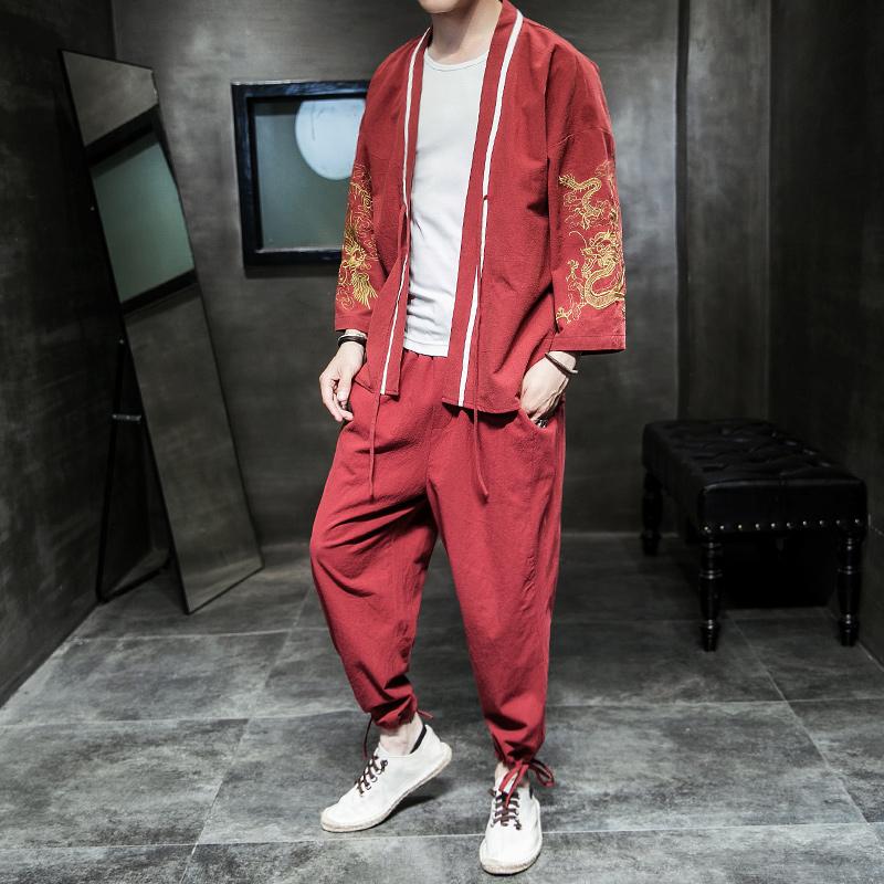 汉服男古风男士仙气刺绣古装中国风男装道袍唐装秋季套装青年潮流热销14件有赠品