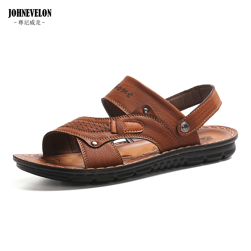 2020 new summer men's sandals Korean men's leather sandals breathable casual slippers sandals sandals