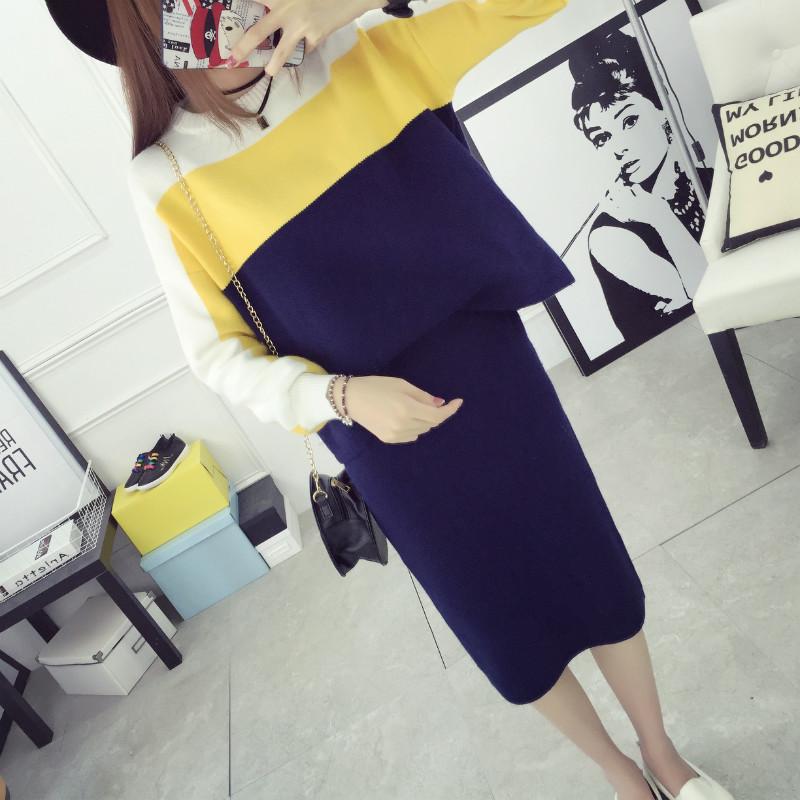 Свитер платья двухсекционный костюмы юбки осень 2016 прилива осень пальто юбки для хип юбки школы девушка корейской версии
