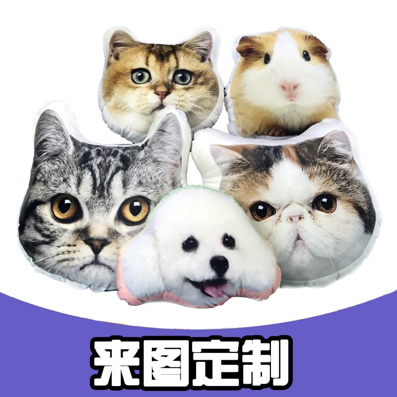定制抱枕diy猫咪宠物照片自制猫头定做枕头动物猫异形脸狗狗靠垫