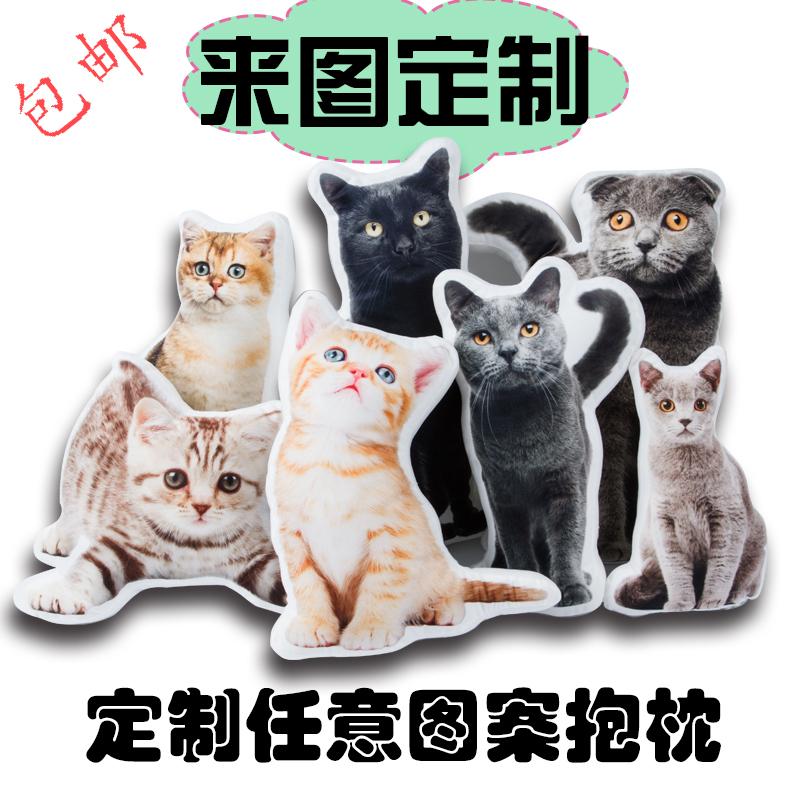 diy定制抱枕3d照片定做宠物纪念枕头猫咪狗异形来图g创意礼物可印