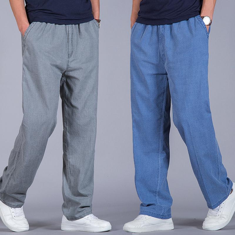 夏季亚麻裤宽松直筒男士棉麻长裤子