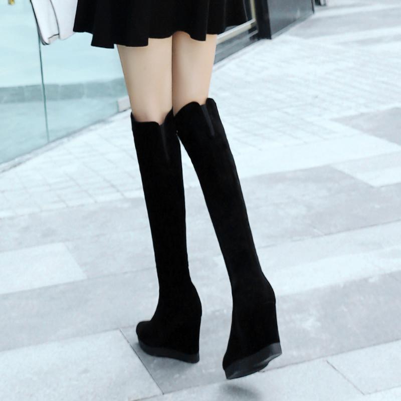磨砂牛皮真皮厚底坡跟长靴高跟防水台过膝靴侧拉链秋冬高筒靴子女