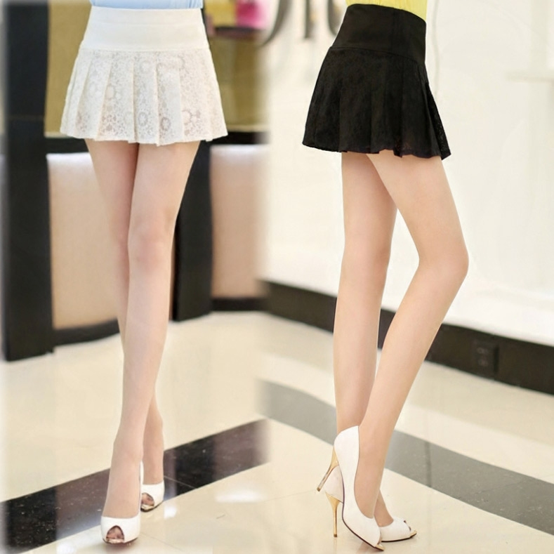 2021 summer cut-out miniskirt sexy mini lace A-line students slim pleated skirt