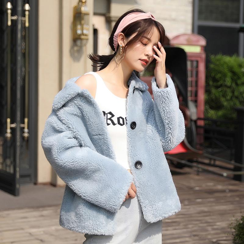蒂克罗姆颗粒绒羊剪绒大衣女羊羔毛皮毛一体2019新款皮草外套短款