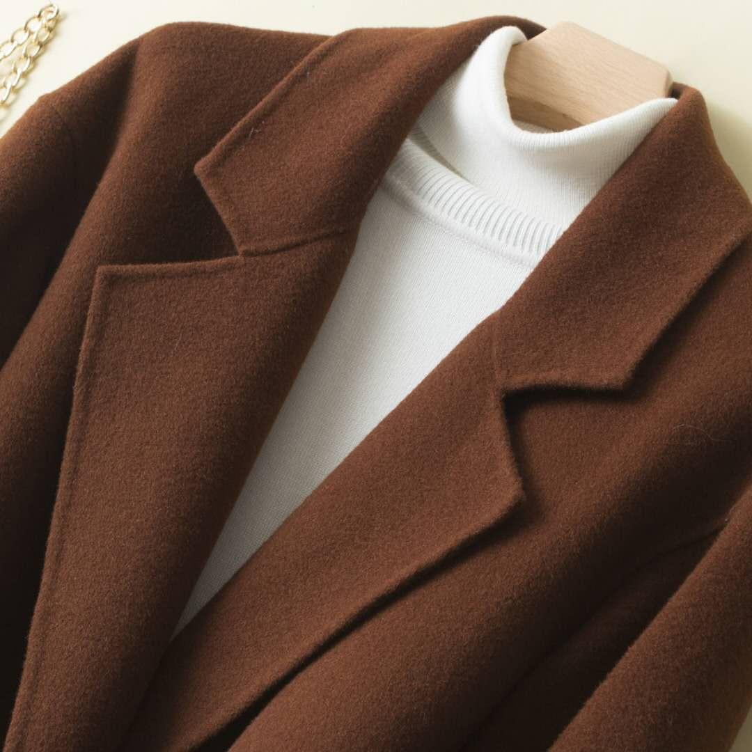 蒂克罗姆2019年时尚新款韩版长袖中长款修身大码羊毛大衣女装外套