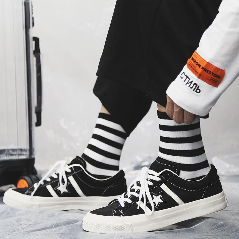 三双装潮流学院风黑白二棉中筒袜子