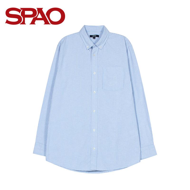 SPAO衬衫男2019新款长袖休闲修身青春衬衣邓超元同款SPYW923P06111.00元包邮