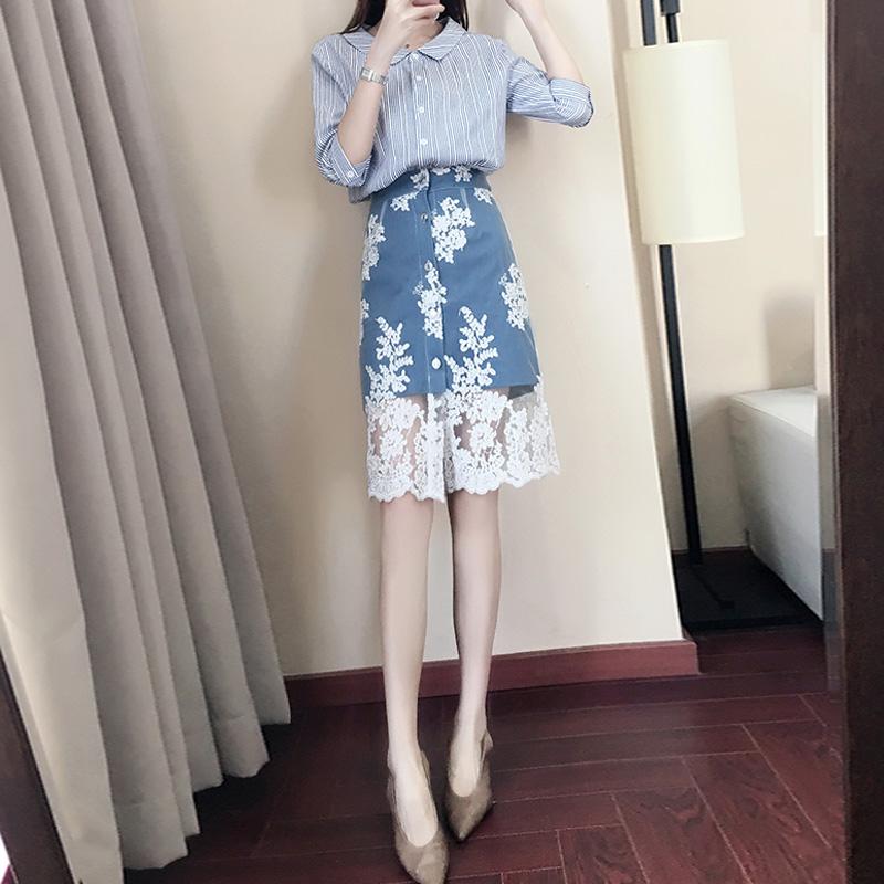 2018春装新款女装潮春季气质衬衫牛仔蕾丝裙两件套时尚小香风套装