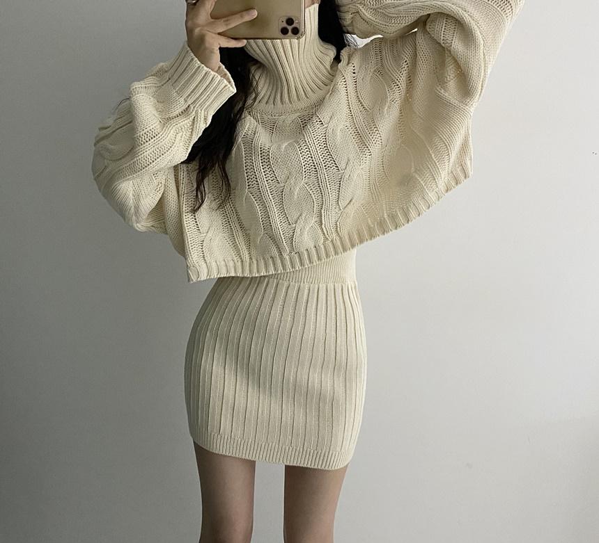 韓國chic秋冬法式溫柔大麻花高領短款毛衣+包臀針織半身裙套裝女
