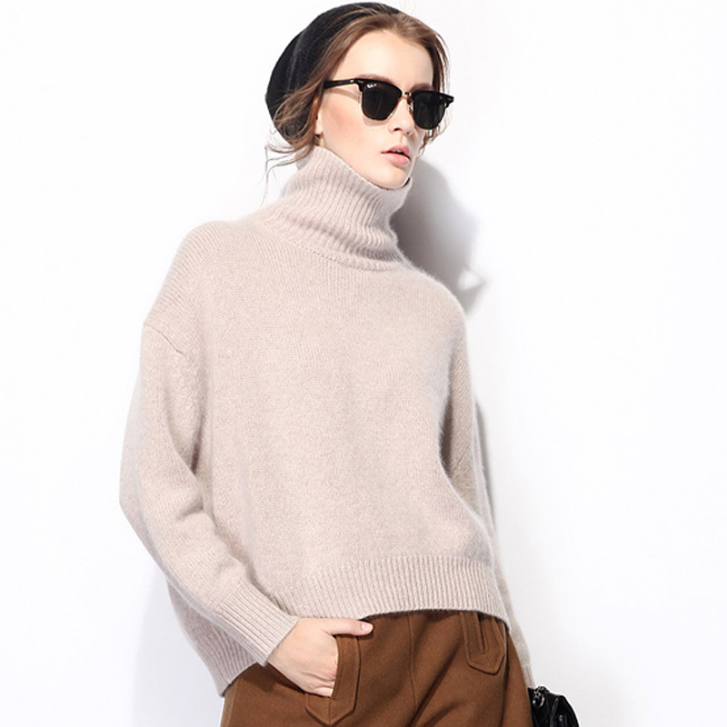 Classic Faye Wong sweater with high neck Pullover Sweater with short front and long back and thickened knitting and backing cashmere sweater