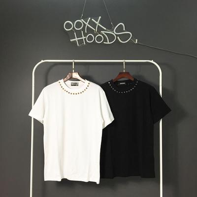 原创潮牌ooxx简约小清新低调奢华领口立体金属色铆钉短袖T恤男女