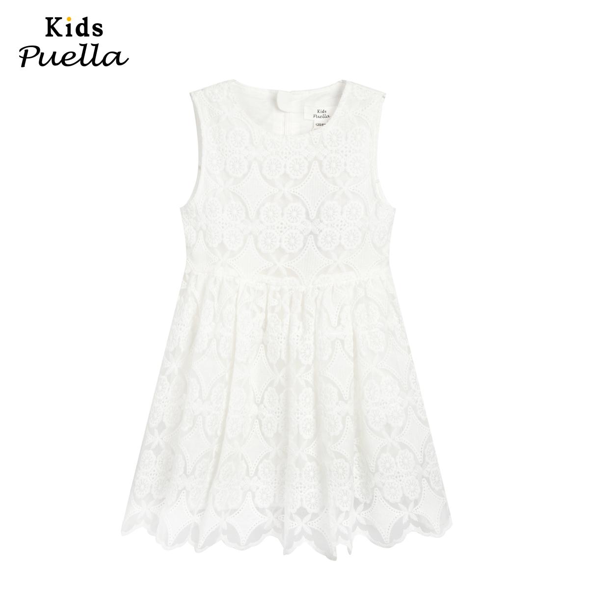 拉夏貝爾KIDS2016夏 公主純色蕾絲花邊連衣裙 女 20100247