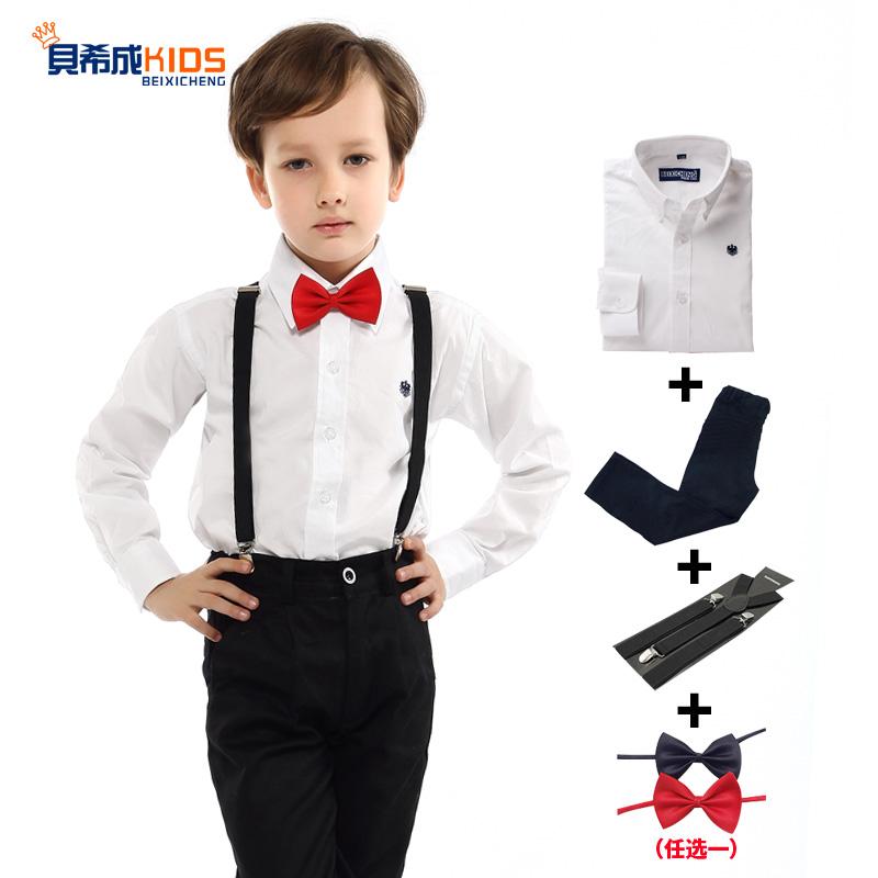 男童禮服套裝白襯衫黑西褲花童背帶演出服兒童主持人鋼琴演出禮服