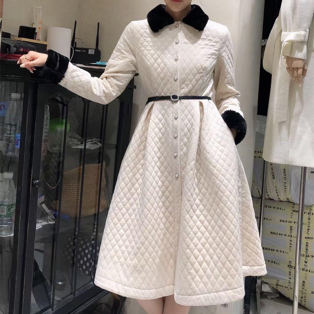 秋冬轻薄菱格收腰棉服2020年新款女中长款羽绒棉衣外套法式连衣裙