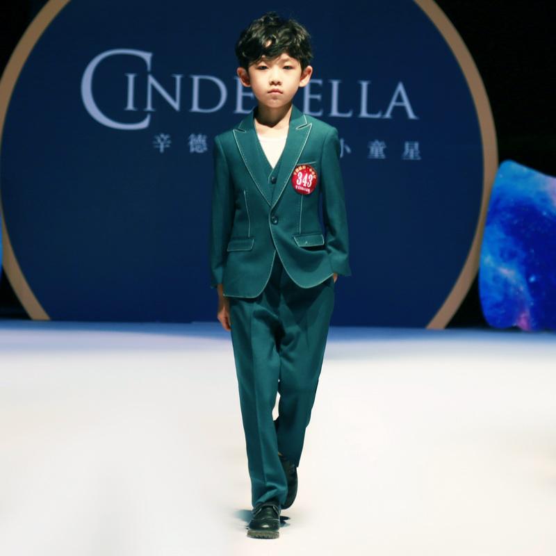儿童西装三件套男童西装中大童韩版西服小西装马甲外套男童礼服