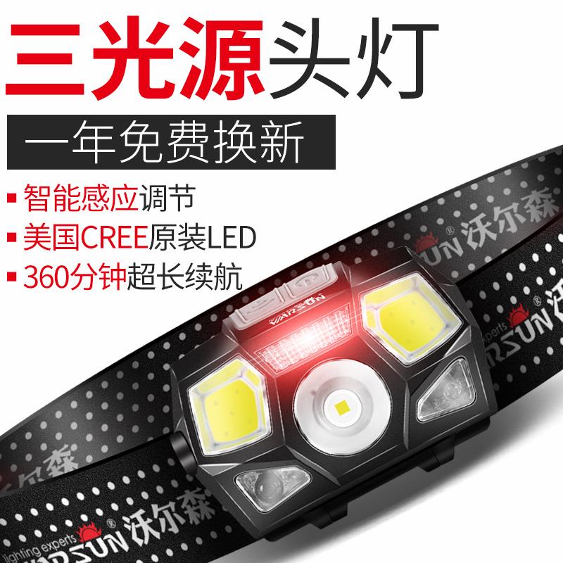 感应钓鱼头灯便携LED头戴式手电筒强光充电超亮户外超轻小号夜钓