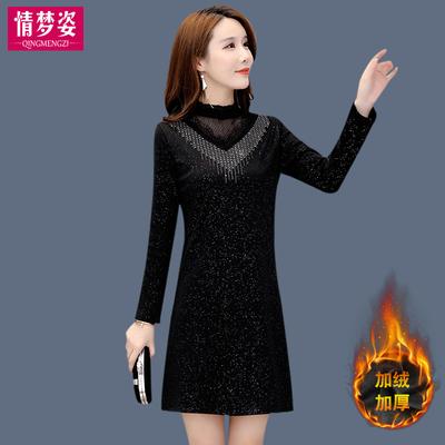 女装冬天新款洋气配大衣打底连衣裙子秋冬气质加厚加绒冬裙女内搭