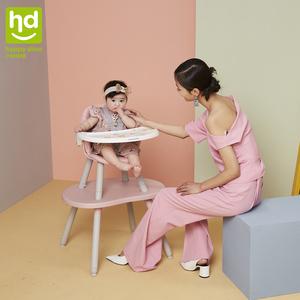 小龙哈彼餐椅多功能宝宝吃饭桌分体式桌椅两用儿童蘑菇餐椅LY266