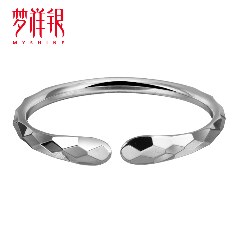 Mengxiang Genuine Silver Bracelet S990 Pure Silver 8mm car flower laser simple style Polished Sterling Silver Bracelet