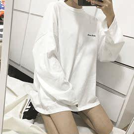 春秋韩版2020新款白色情侣上衣宽松BF风中长款长袖打底T恤女装ins