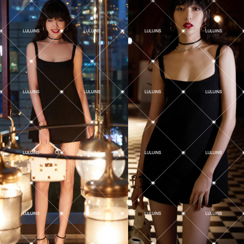 French luluins super fire Tang Yan stars same style dress suspender dress off shoulder one-piece Shorts Small Black Skirt