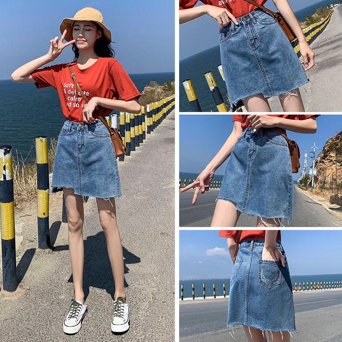 小个子高腰A字短裙裤 半身裙女夏季 款 2020新 ins不规则包臀裙子 牛仔