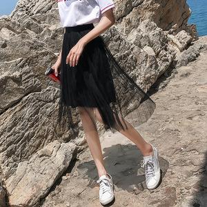 黑色纱裙女夏2020新款高腰中长款小个子很仙的网纱半身裙女士裙子