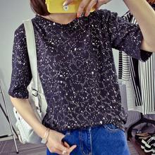 824#已出货(实拍)2017韩国新品时尚点锡短袖T恤女打底衫女