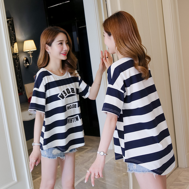 Pregnant womens summer wear thin Korean large pregnant womens top short sleeve loose striped pregnant womens T-shirt