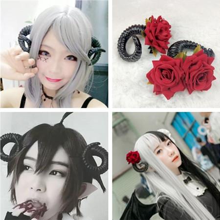 搞死漫展cosplay恶魔角发卡玫瑰花绵羊角对夹暗黑万圣节派对发箍