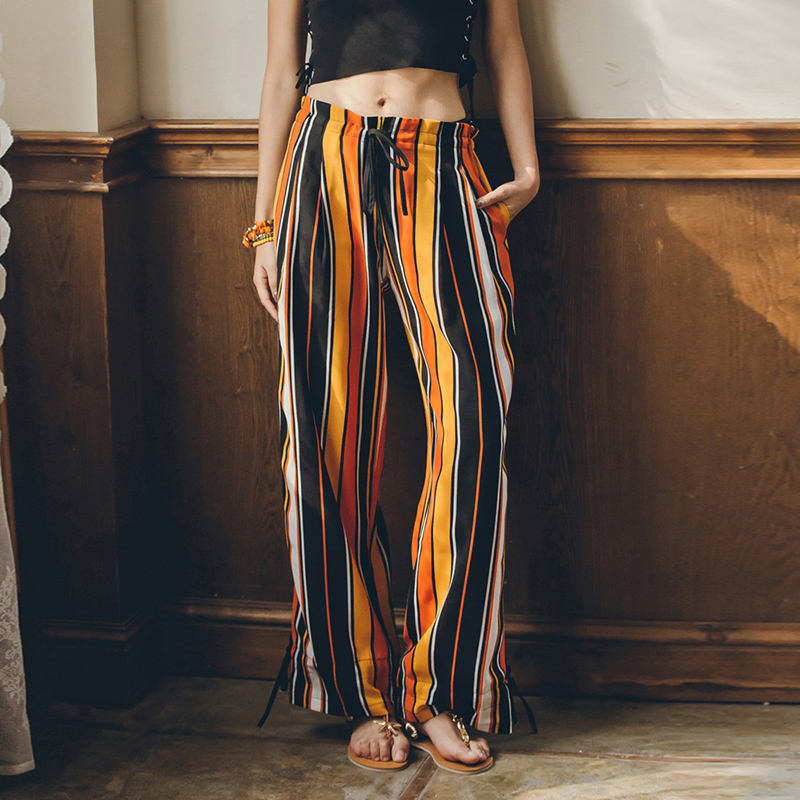 Thailand beach pants seaside holiday Bohemian ethnic women's summer stripe loose mosquito proof wide leg pants pants