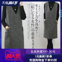 连衣裙秋冬2020新款V领背带中长款修身无袖收腰羊毛呢背心裙女
