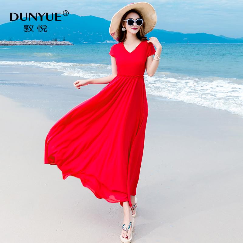 红色雪纺连衣裙女2020新款夏三亚长款显瘦长裙海边度假沙滩裙超仙