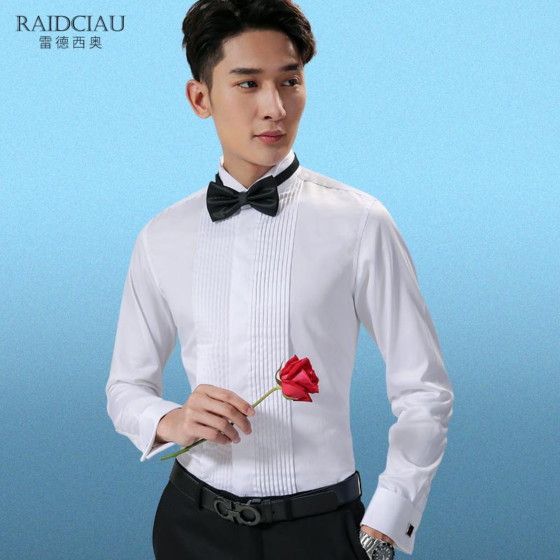 领结衬衫男结婚正装伴郎服燕领礼服款袖扣长袖男士白色新郎衬衣衫