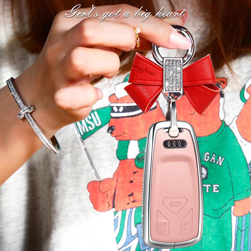 适用于20款新奥迪A4L车钥匙套Q7 A5 TT Q5镶钻汽车真皮钥匙壳扣套