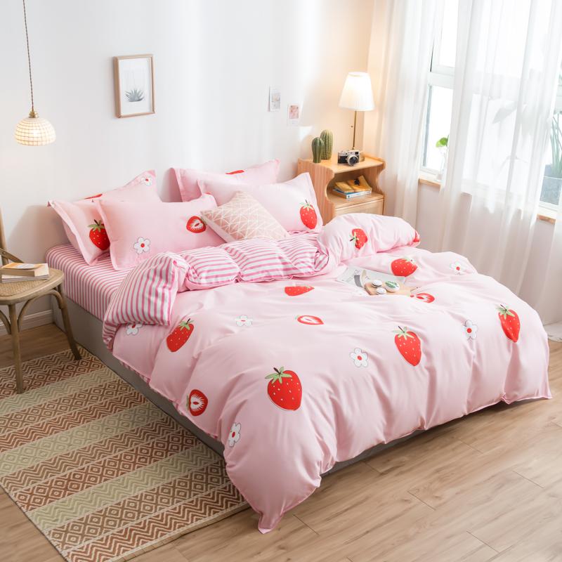 网红四件套1.8m磨毛被套1.2米学生宿舍三件套被单4件套床单3春秋