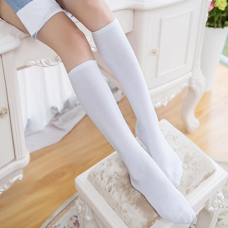 Носки женщина высокий носок японский студент корея институт ветер полоса половина и колено носки теленок носок корейская волна