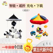 婴儿床铃新生宝宝毛绒布艺安抚玩具0-6-12个月黑白音乐旋转床头铃