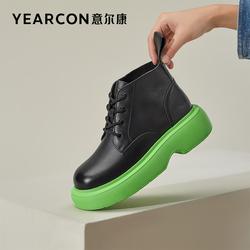 意尔康女鞋2021冬季新款低帮马丁靴小个子真皮短靴单靴英伦风低帮