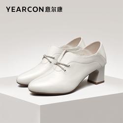 意尔康女鞋2021秋季新款真皮高跟粗跟女士皮鞋尖头单鞋职业工作鞋