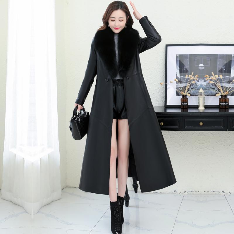 好蕾冬装 脱卸大狐狸毛领 真皮羽绒服女中长款修身绵羊皮加厚外套