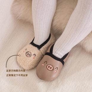 兒童地板襪皮底秋冬厚款防滑學步襪嬰兒童早教室內襪套寶寶襪子