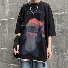 妈个鸡妈 韩国ins复古夏季港风卡通动漫印花宽松百搭短袖T恤男女图片