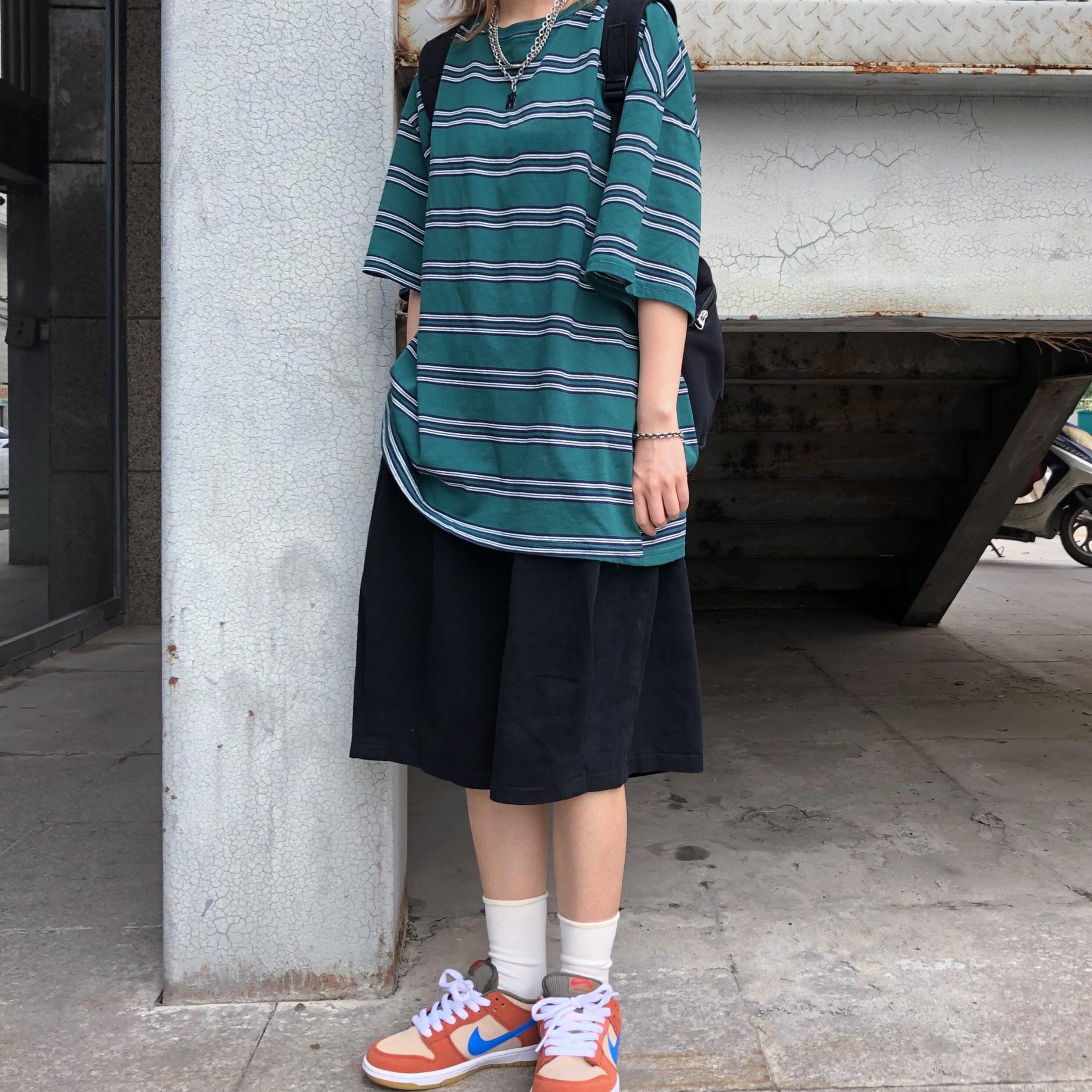 妈个鸡妈韩国ins复古潮流夏休闲裤