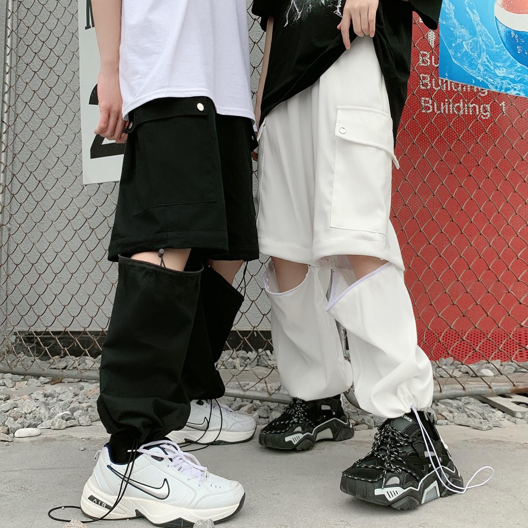 妈个鸡妈 韩国ins潮流可拆卸两穿工装裤短裤宽松休闲裤九分裤男女